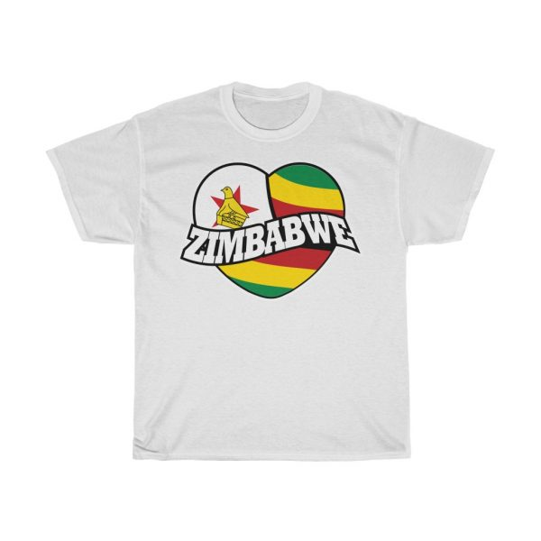 Zimbabwe Heart Flag Patriotic T-Shirt (S to 5XL)